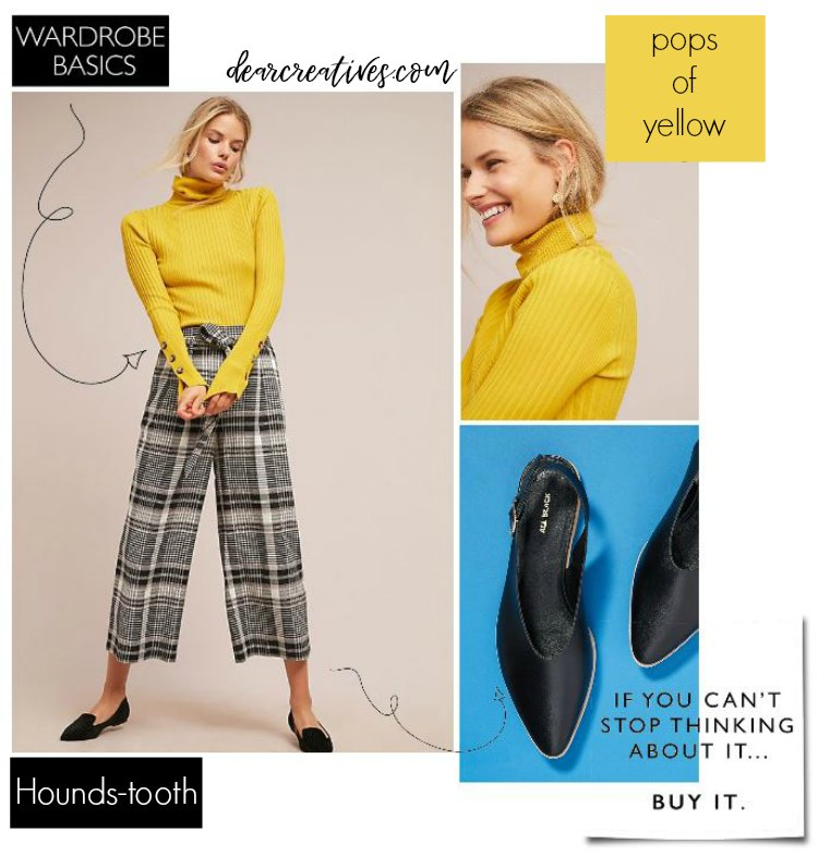 Outfit of the day - Hounds-tooth wide leg pants with a yellow turtle neck sweater paired with flats DearCreatives.com #outfits #outfitideas #fall #womensfashion
