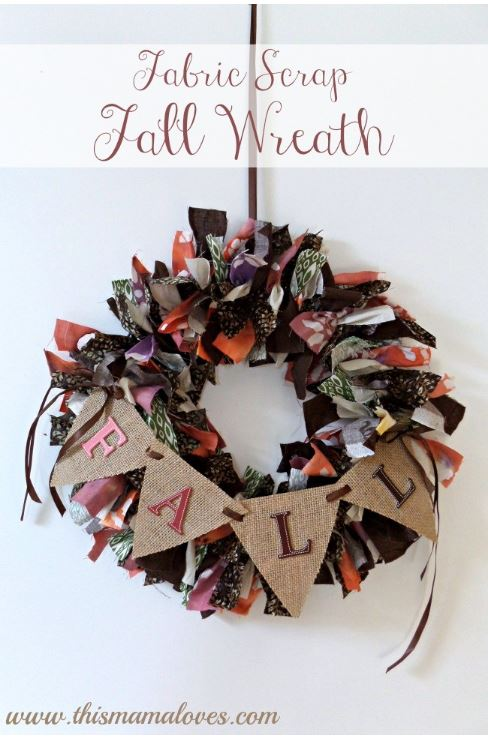 Scrap Fabric Fall Halloween Wreath via thismamaloves