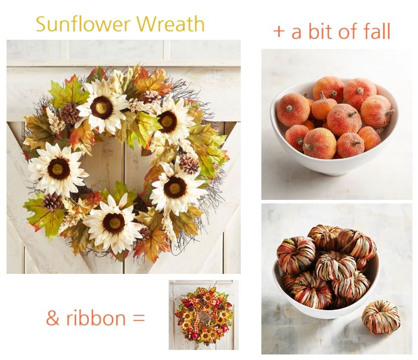 Sunflower wreath with home decor accents and pretty ribbon to help make it a fall wreath. See more fall decorating ideas dearcreatives.com