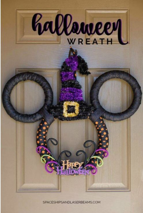 mickey mouse disney halloween wreath via spaceshipsandlaserbeams