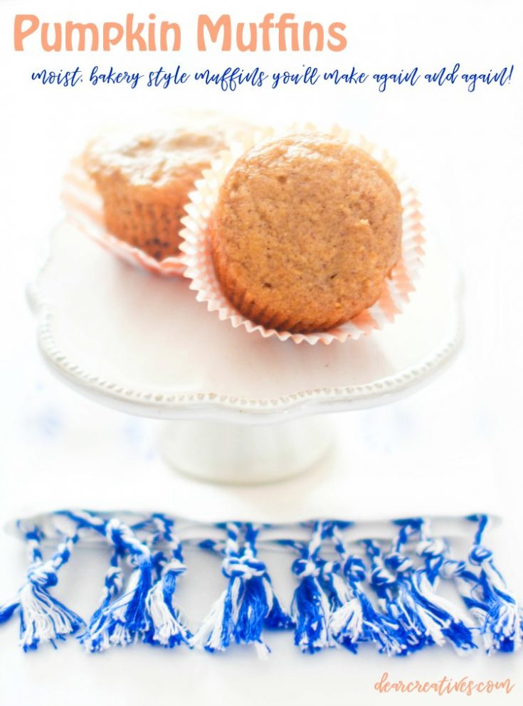 pumpkin muffins - Are you looking for a moist pumpkin muffins recipe This is the only recipe you need this fall! Grab this tasty pumpkin muffins recipe at DearCreatives.com #pumpkinmuffins #pumpkinmuffinsrecipe #moist #tasty #easy #homemade #fromscratch