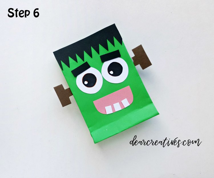 Frankenstein Treat Bags Halloween craft with free printable template step (6) DearCreatives.com