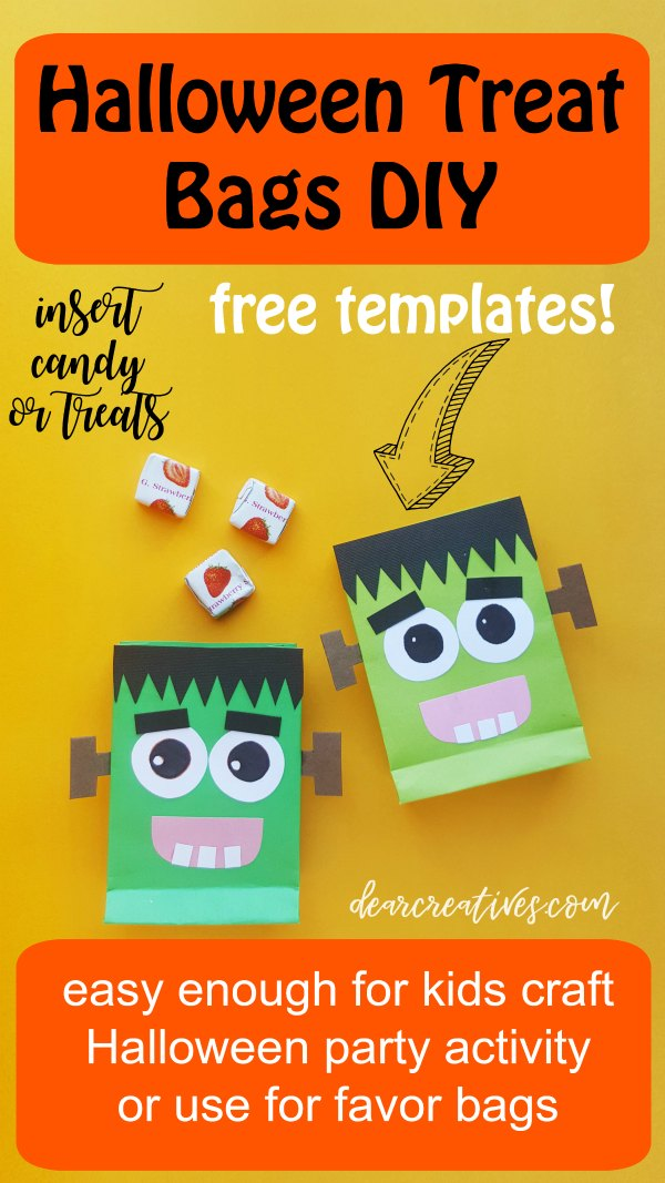 Halloween Treat Bags This is so easy print free templates and glue onto paper bags or make your bags. See how easy this Halloween craft idea is to make. Use them for a kids Halloween activity, Halloween party or as Halloween favors. Fun and easy! DearCreatives.com #halloweencrafts #halloweentreatbags #freeetemplate #kidscrafts #partyfavors #halloweenparty #halloweenideas #Frankenstein #cute #fun #quick