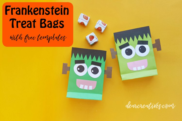 Halloween treat bags. Easy to make treat bags comes with free printable Frankenstein templates. DIY at DearCreatives.com