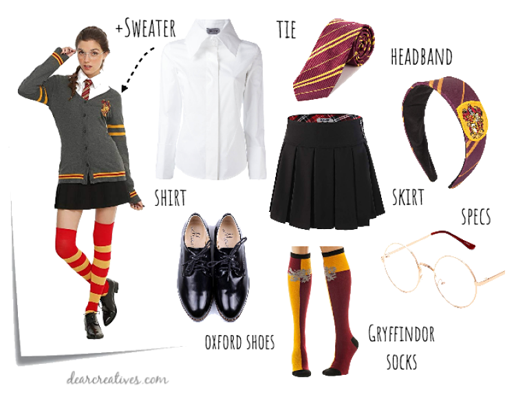 Harry Potter Gryffindor Costume - for a woman, teen girl or girl. See this and more Harry Potter costume ideas. DearCreatives.com