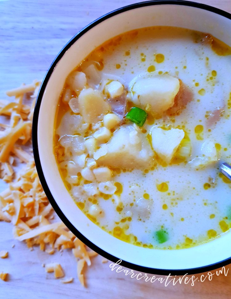 Instant Pot Potato Corn Chowder - soup recipe that is so easy to make and perfect for a cold day. You can make this in the instant pot, crockpot or stove top. I love this chowder soup recipe. DearCreatives.com #potatocornchowder #potatosoup #souprecipe #soup #chowder #recipe #easy #instantpot #stovetop #crockpot #comfortfood #healthy #vegetarian #warmup #cozy #tasty #delicious