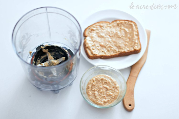 Vitamix Personal Cup Blender and a plate with a homemade peanut butter sandwich, and nut spread DearCreatives.com