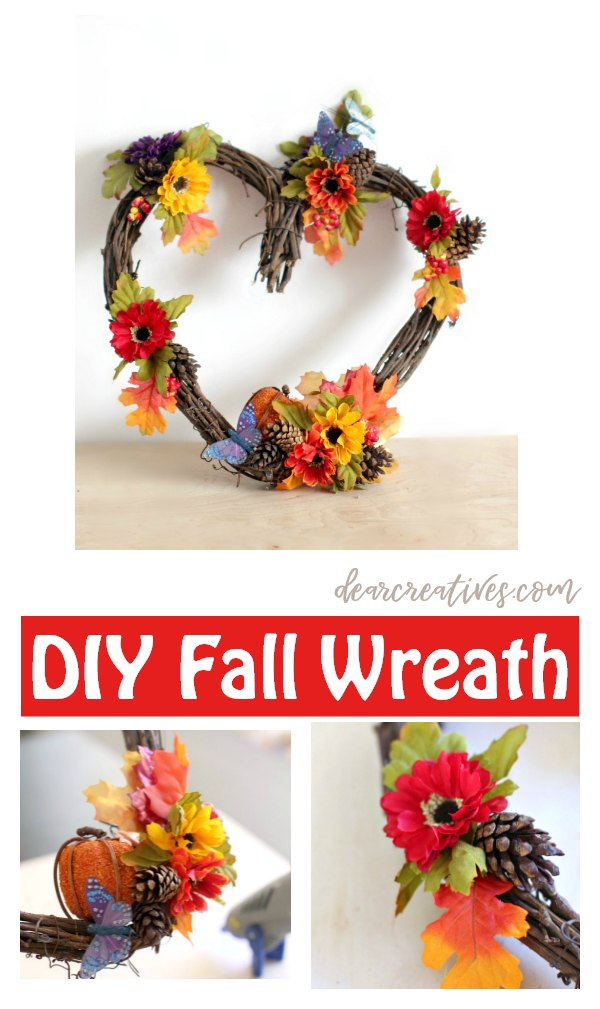 fall wreaths- make this heart fall wreath or any of the other grapevine wreath ideas. there are so many to pick from to make DearCreatives.com #wreaths #diy #fall #grapevinewreaths #crafts