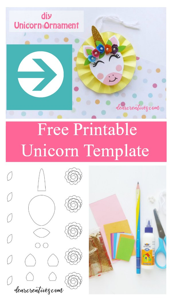 DIY unicorn ornament and free printable unicorn template. Make this easy unicorn craft for any color papers to go with your holiday, party, and decorations. Even add it to your unicorn gifts. Tutorial and template at DearCreatives.com #unicorn #unicornornamentdiy #diy #crafts #papercrafts #decorations #packaging #Christmasornaments #ornaments #party