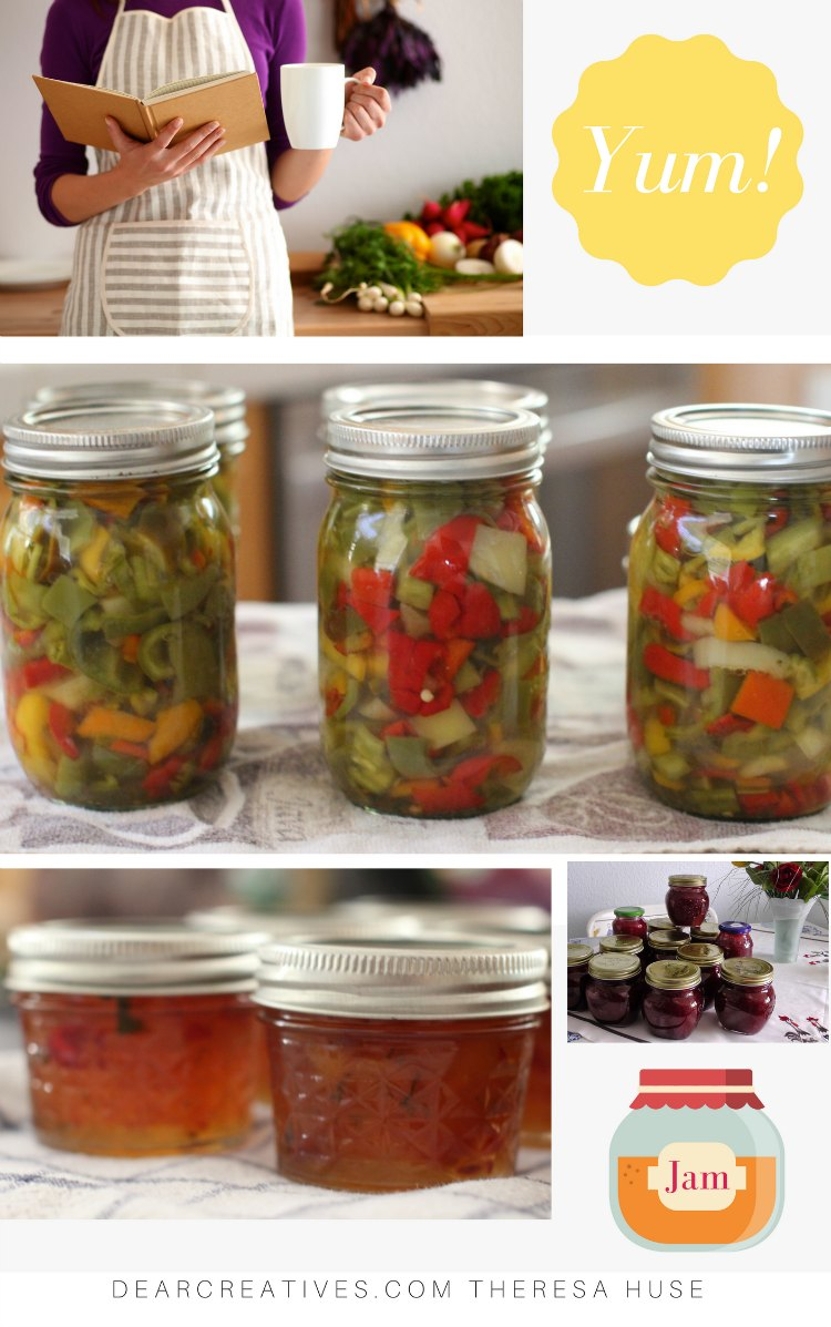 Easy Canning Recipes- Find easy to make canning, preserving and freezing recipes. Tips and resources for beginning canners. Recipes for all levels. DearCreatives.com #canning #canningrecipes #preserving #freezing #jam #food #fruits #vegetables