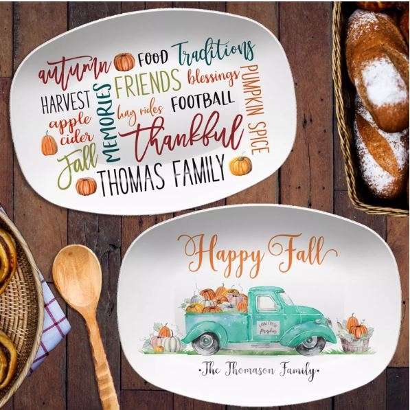 Personalized Fall Platters come in so many choices to pick from and are useful gifts.