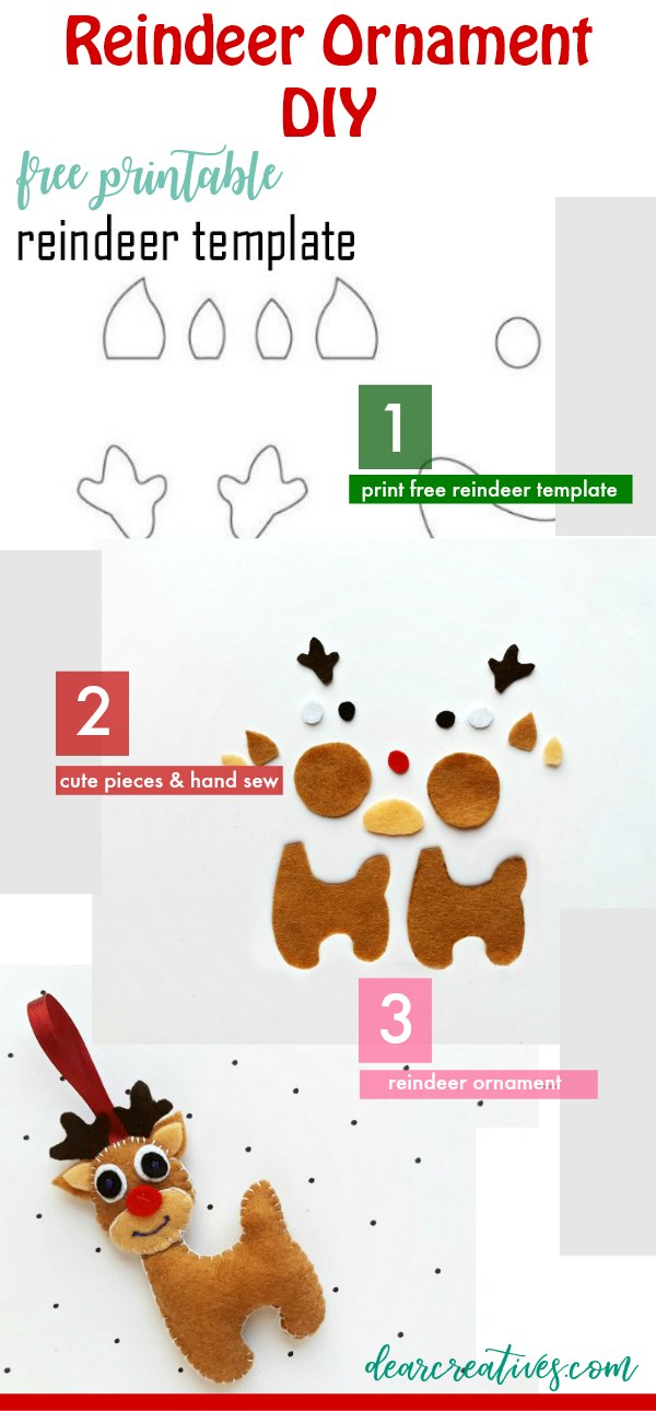Reindeer Ornament - Grab this free printable reindeer template with free step by step how to make a felt reindeer ornament. DearCreatives.com #reindeerornament #reindeer #ornament #feltcrafts #feltreindeer #crafts #diy #freepattern #template
