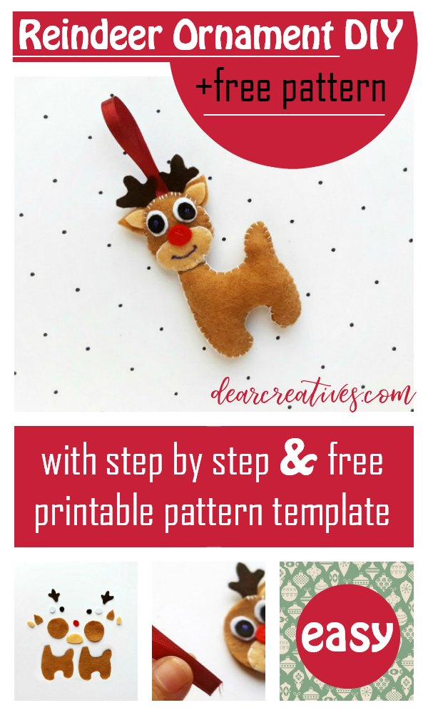 Reindeer Ornament - Grab this free reindeer ornament pattern for a felt reindeer. Step by step with free printable pattern. DearCreatives.com #reindeerornament #reindeer #ornament #feltcrafts #feltreindeer #crafts #diy #freepattern #template