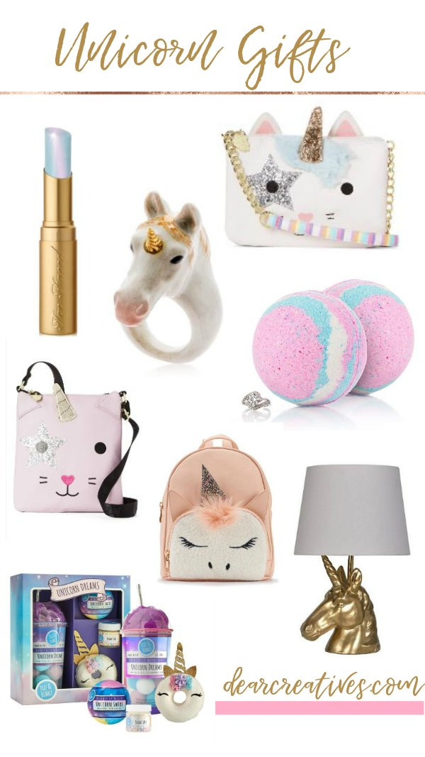 Unicorn gifts You will love picking from these unicorn gift ideas. They are perfect for teen girls, tweens and girls who love unicorns! You have to see all the ideas. DearCreatives.com #unicorngifts #giftguide #teengirl #teen #gifts #tweengirl #girl #unicorn #unicorngifts