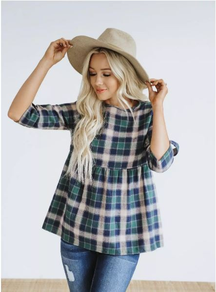 plaid peplum shirt in blue green and white