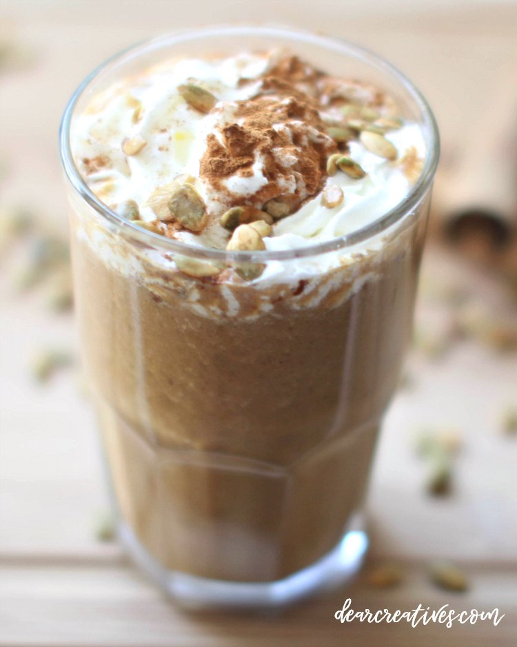 pumpkin spice latte blended. This recipe is similar to a pumpkin spice frappaccino. You can make the drink recipe warm, iced or blended. Must have recipe and coffee drink tips. DearCreatives.com #pumpkinlatte #pumpkinspicelatte #frappaccino #coffeedrinks #coffeedrinksathome