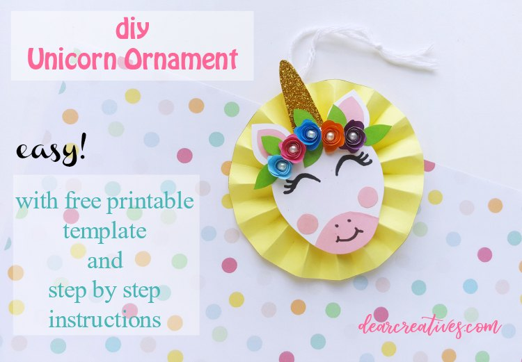unicorn ornament - paper craft with free printable unicorn template DearCreatives.com #unicorncrafts #unicorndiy #unicorntemplate #papercraft