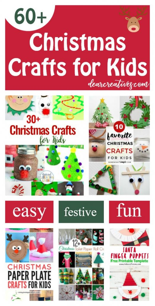 Are you looking for Christmas Crafts for Kids Find Easy, festive, fun kids craft ideas for the holidays. You will find easy toddler and kids crafts for making Christmas ornaments, paper plate Christmas crafts, and fun holiday ideas for the kids. Try any of these 60+ kids Christmas Crafts DearCreatives.com #christmascraftskids #christmascrafts, #kidsactivities #fun #festive #holiday #kidscrafts #Christmas #kids #toddlers #toddlercrafts #dearcreatives