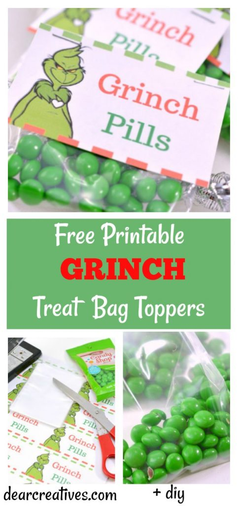 Free Printables - Grinch Treat Bag Toppers. You'll love how easy this diy is for Christmas or a party. Use it for favors, or treats on movie night while watching the Grinch that stole Christmas. These would make great stocking stuffers too. #freeprintables #grinch #christmas #party #treatbagtoppers #treatbags #dearcreatives