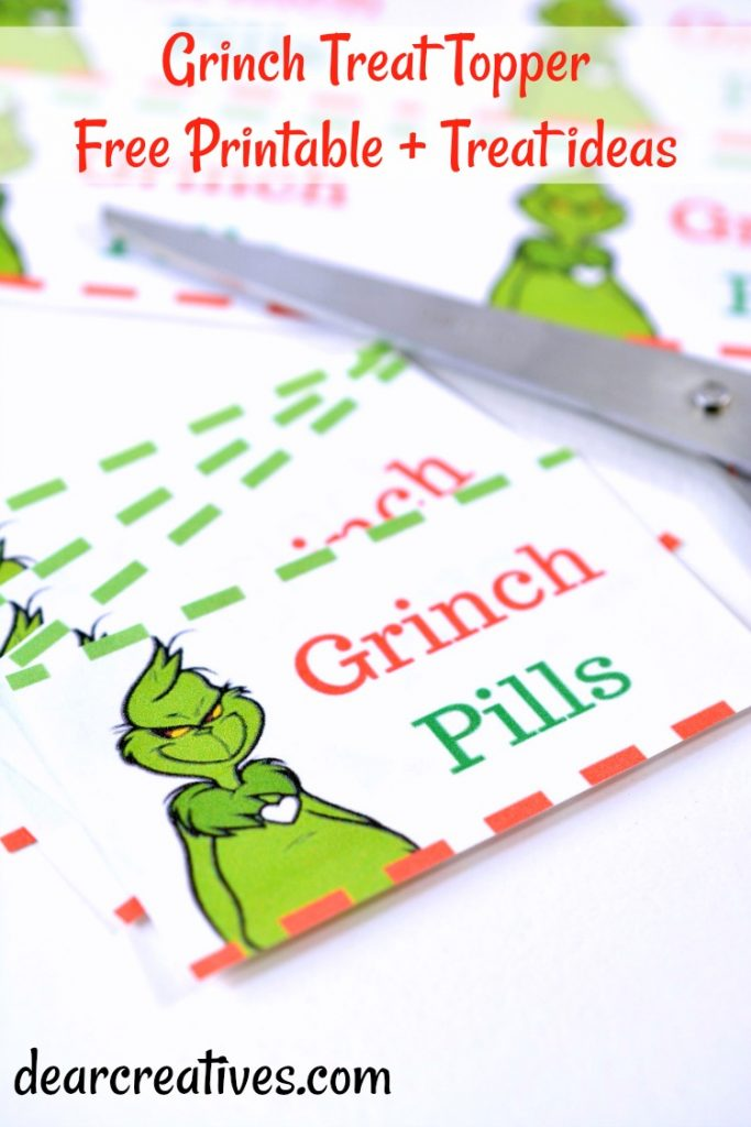 Grinch Treats and Free Printable Treat Toppers DIY #grinch #treats #printables #freeprintable #treattoppers #diy #dearcreatives