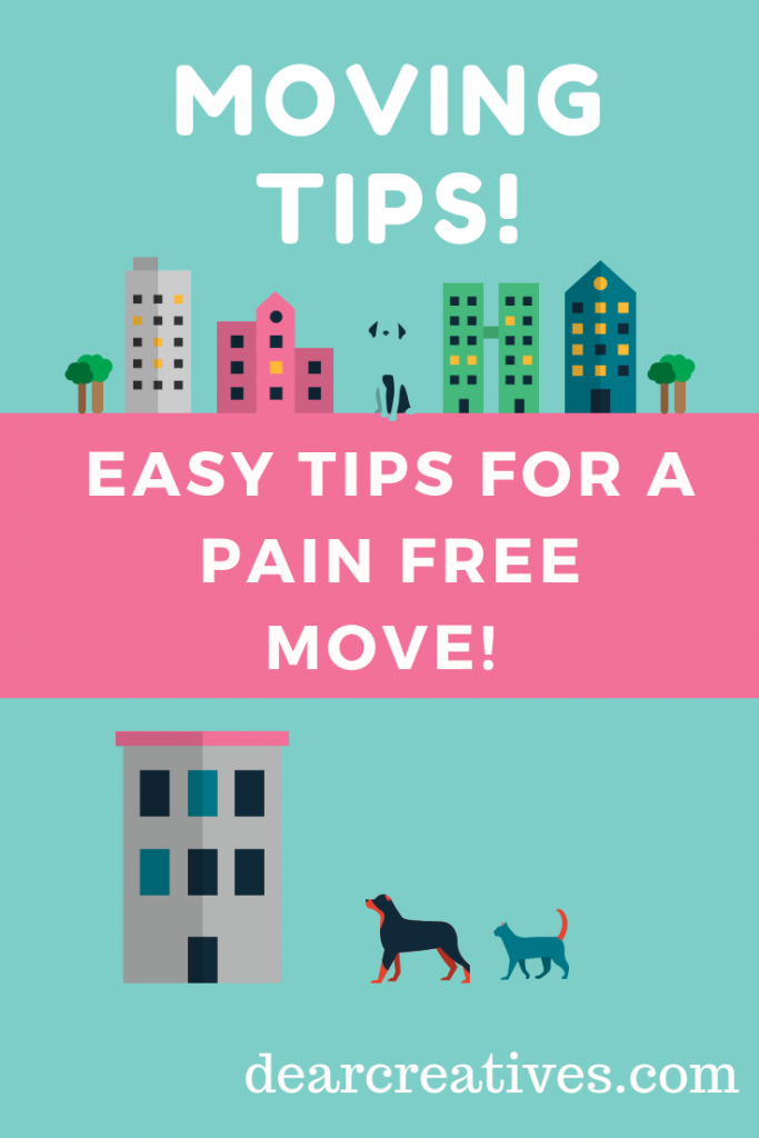 Moving Tips! Easy tips you can do to make moving pain free and organized. Whether you do it yourself or get ready for movers. #movingtips #tipsformoving #moving