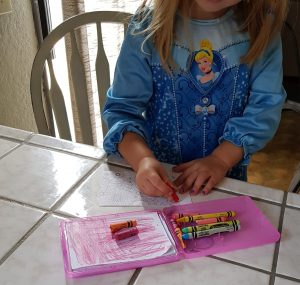 Child using the coloring cards from the craft book Hello Angel Floral PaperCrafting