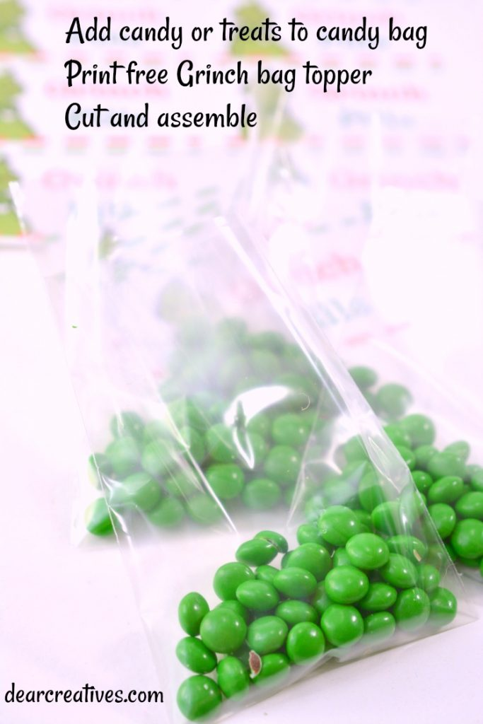 candies in a cellophane treat bag ready to have package topper added. See diy and free printable at DearCreatives.com