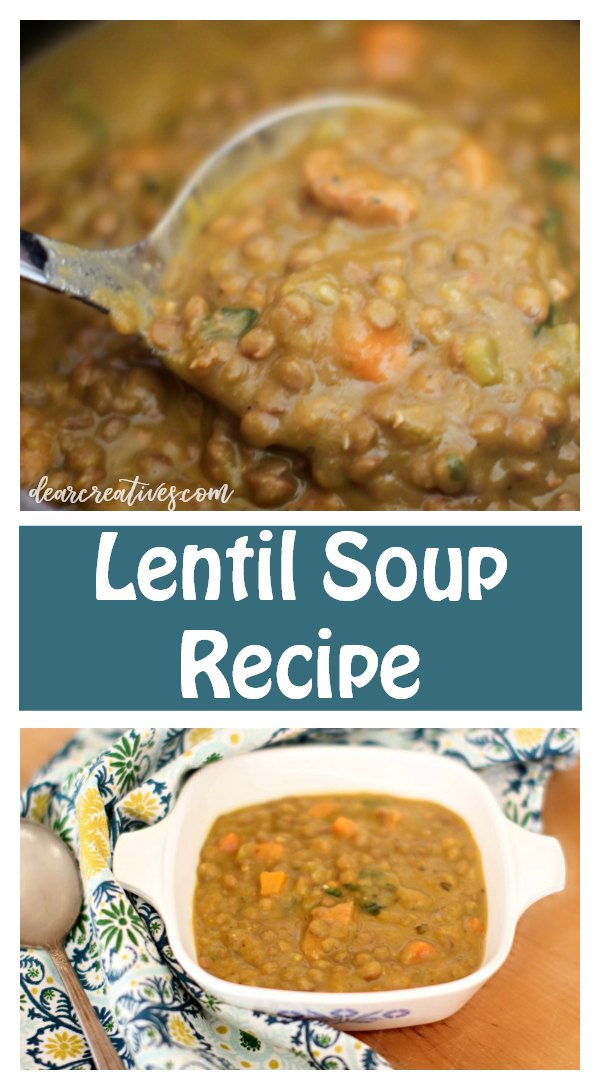 Are you looking for an easy lentil soup recipe This delicious lentil soup is packed with flavor. A must try! #lentilsoup #lentilsouprecipe #easy #healthy #vegetarian #vegan #tasty #soupfordinner #soup #souprecipe #dearcreatives DearCreatives.com