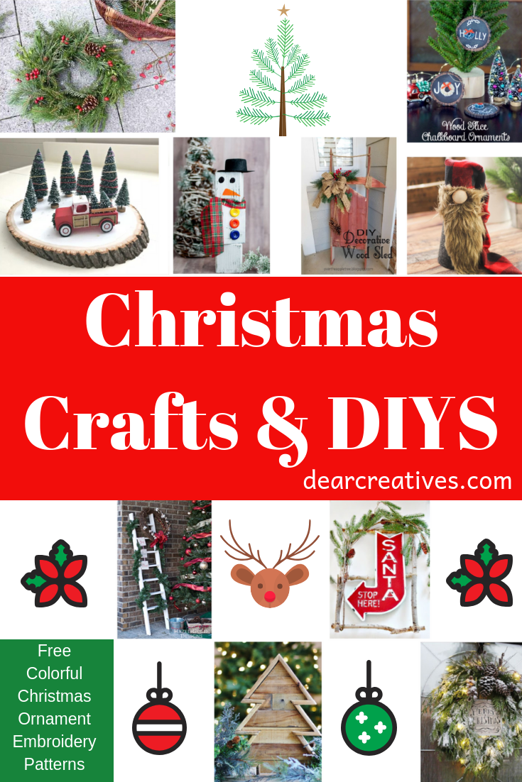 Are you looking for festive Christmas crafts and diys? We have so many ideas for the holidays to share with you. The list of diys keeps growing with modern, rustic, natural, wood crafts, wreaths and other crafts for Christmas. #christmas #crafts #diys #christmasdeocrations #christmasdecor #ideasfortheholidays #rustic #wood #wreaths #embroidery #modern #dearcreatives #inspirationspotlight