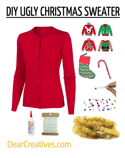 DIY UGLY CHRISTMAS SWEATER #diy #uglychristmassweater #Christmascraftideas #christmas #crafts #party #festive #fun