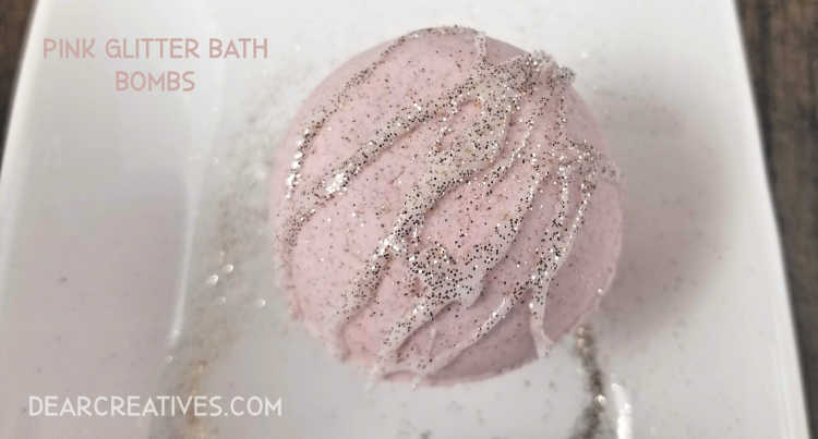 Pink Champagne Bath Bombs DearCreatives.com #pink #glitter #champagne #beauty #diy #dearcreatives
