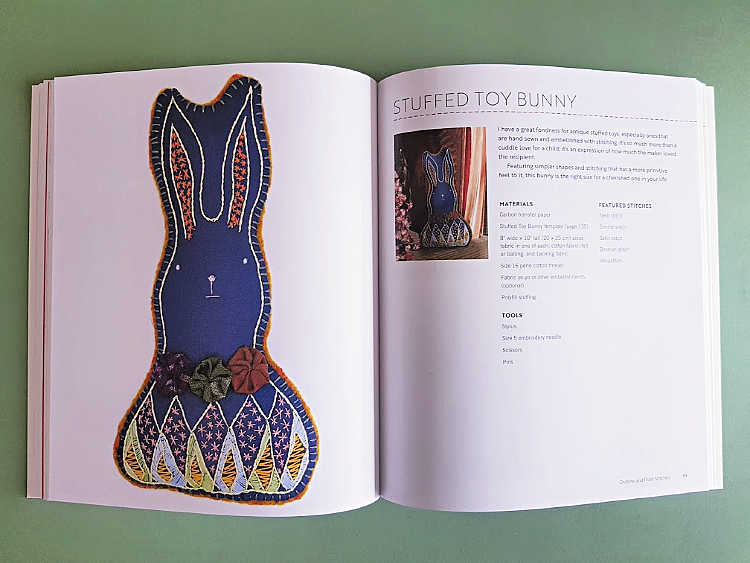 Stuffed bunny craft project with embroidery stitches one of 10 hand embroidery patterns. Find out more DearCreatives.com