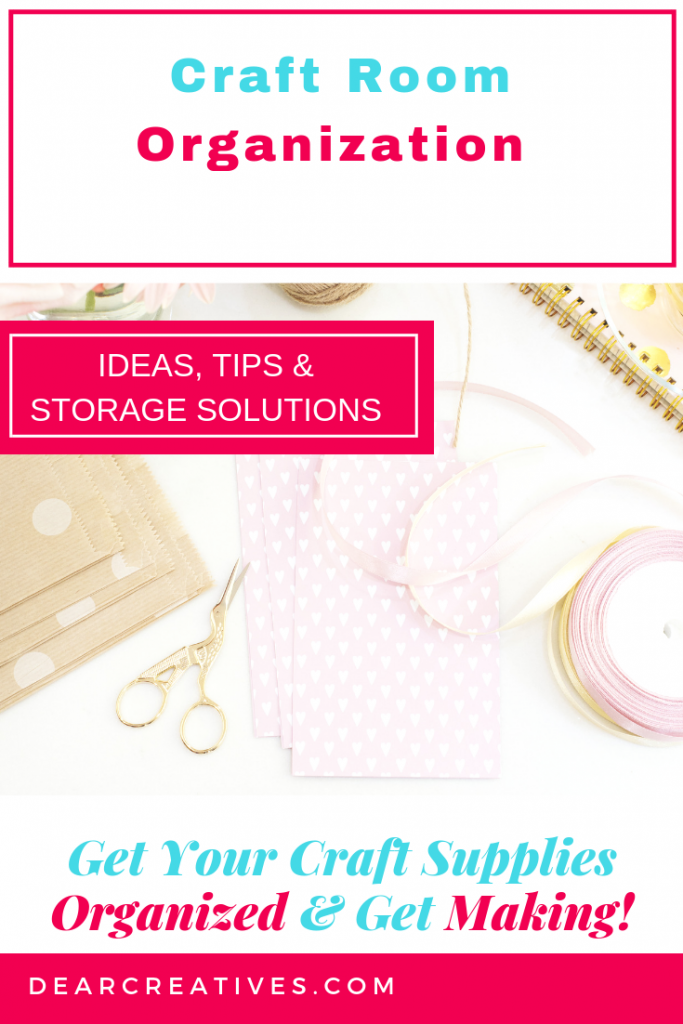 Craft Room Organization - Tips and craft storage solutions that will help you!Are you looking for ideas to help you with craft room organization? Grab these ideas, tips and craft room storage solutions to keep you more organized, productive and making vs looking for your craft supplies. #craftrooms #organization #diy #homeorganization #crafts #artist #crafters #sewers #scrapbooking #storageideas #storagesolutions #craft #rooms #dearcreatives