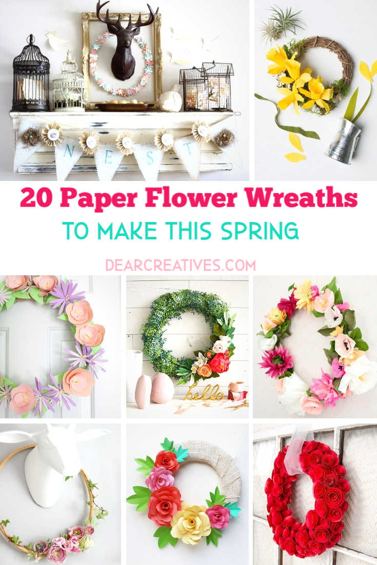 DIY Spring Wreaths - Paper Flower Wreaths To Try This Spring DearCreatives.com #diyspringwreaths #springwreaths #easterwreaths #wreathmaking #diywreaths #paperflowerwreaths #dearcreatives