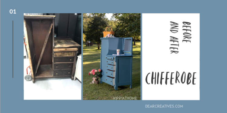 Upcycled Furniture Antique Wardrobe Before/After