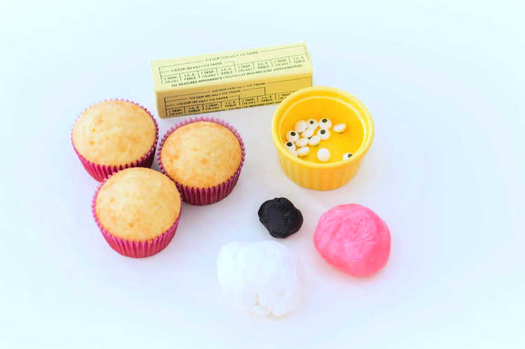 cupcakes, fondant, decorating supplies for making cute bunny cupcakes