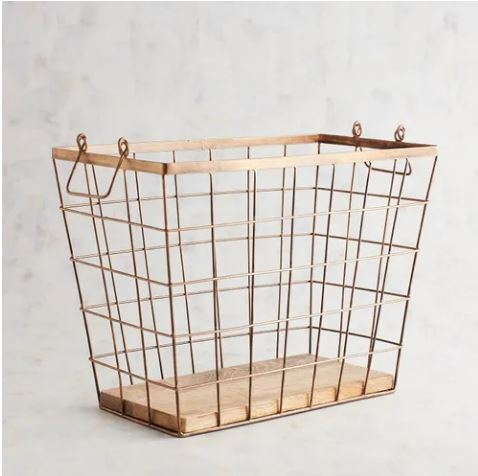 gold wire basket with wood
