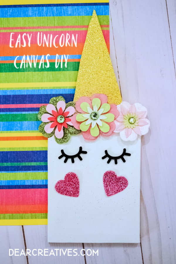 unicorn diy - diy unicorn room decor. Make this mini unicorn canvas can be a kids craft or a unicorn craft for a birthday party. DearCreatives.com #unicorndiy #unicorncrafts #unicorn #diy #kidscrafts #roomdecor #kidsparty #kidspartyideas #dearcreatives