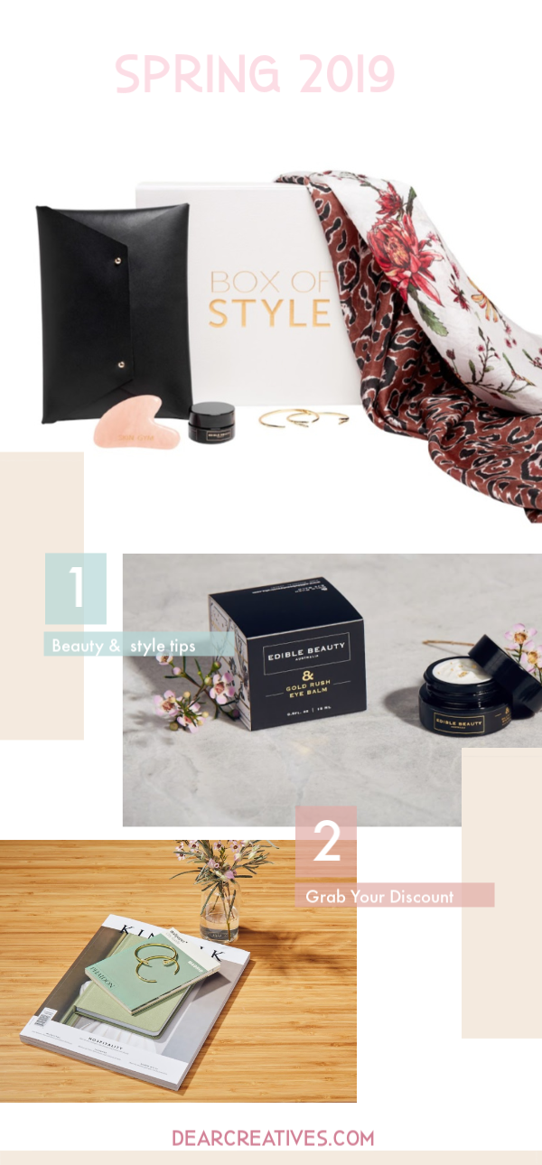 Box of Style - Rachel Zoe's Box of Style - Spring 2019 a subscription box for women. See all the brands in this box and grab a discount to get your own subscription box. DearCreatives.com #boxofstyle #rachelzoeboxofstyle #discountcode #beauty #style #subscriptionbox #women