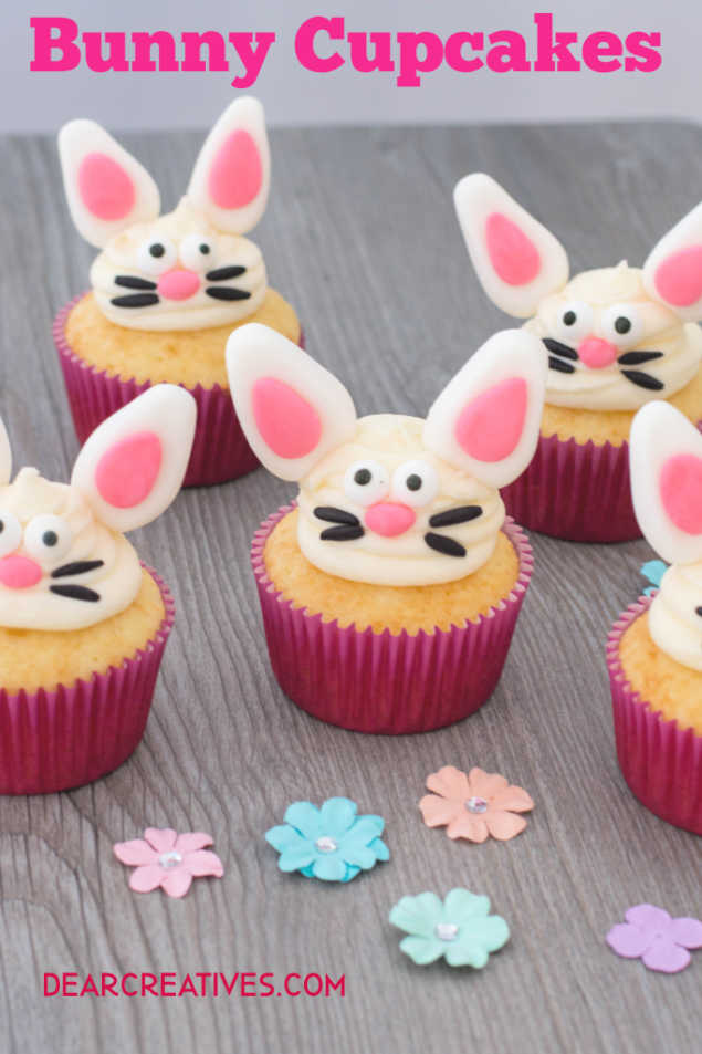 Bunny Cupcakes - Easter cupcakes idea that is easy to make, plus so many Easter treat ideas at DearCreatives.com #bunnycupcakes #easterbunnycupcakes #cupcakes #Eastercupcakeideas #Eastertreats #recipes #howto #dearcreatives