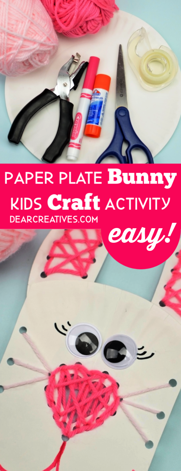 Paper Plate Craft - Make a bunny paper plate craft with lacing activity for kids. See how easy this lacing kids activity is at DearCreatives.com #paperplate #bunny #kids #craftsforkids #lacingactivity #lacingcraft #paperplatecraftanimals #dearcreatives