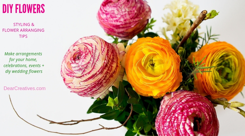 Style Flowers -diy flowers - Make flower arrangements at home. Tips, flower arranging resources and how to style flowers . DearCreatives.com #styleflowers #flowerarranging #diyflowers #athome #wedding #entertaining #events #flowers #tips #howto