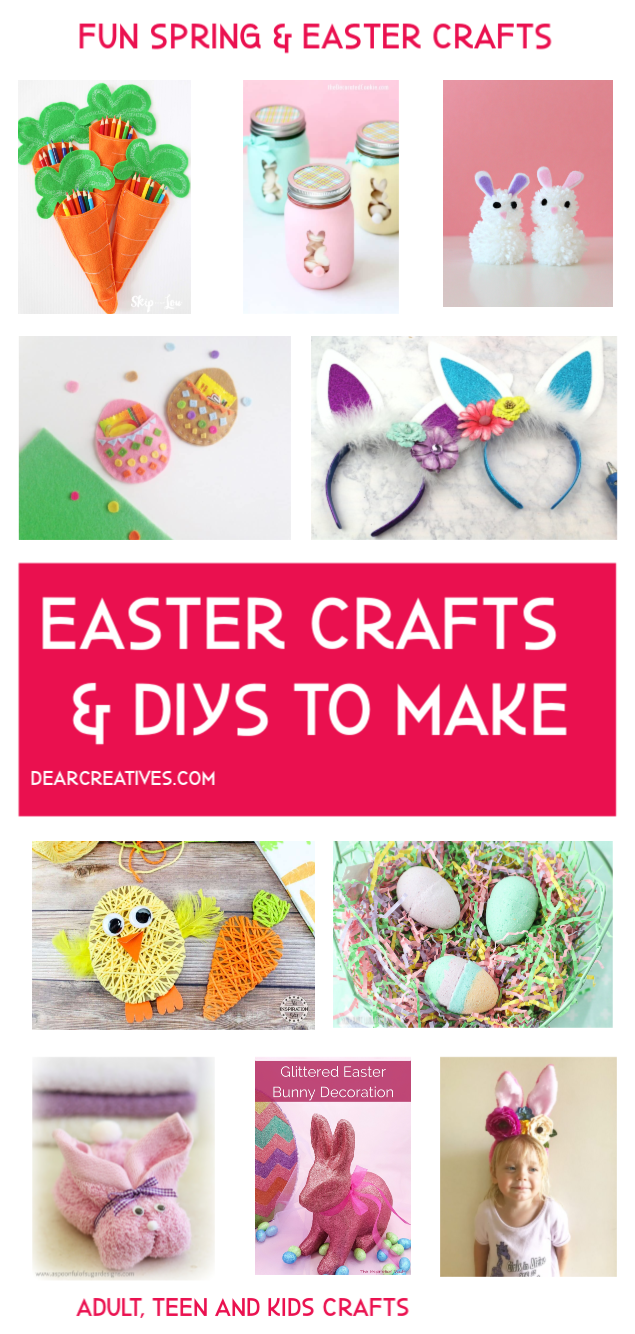 Easter Ideas - Spring Crafts and Easter Crafts - Fun and easy spring craft ideas that you can make at home. So many ideas to pick from. #easterideas #springcrafts #eastercrafts #crafts #diys #simple #fun #adultcrafts #teenscrafts #kidscrafts
