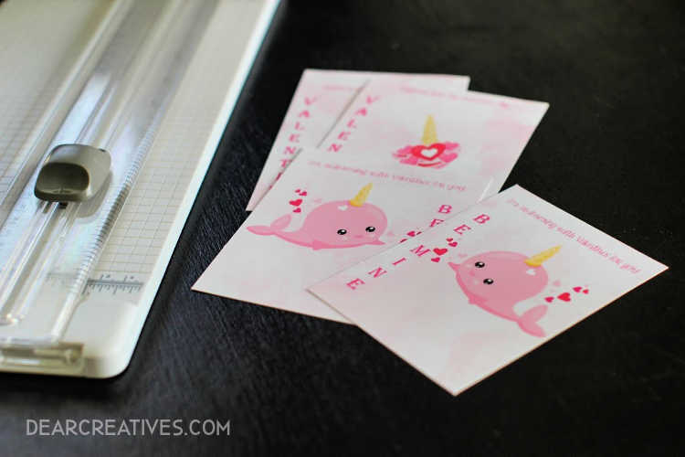 Valentine's Day Printables with norwal and unicorns © DearCreatives.com 2019 Theresa Huse