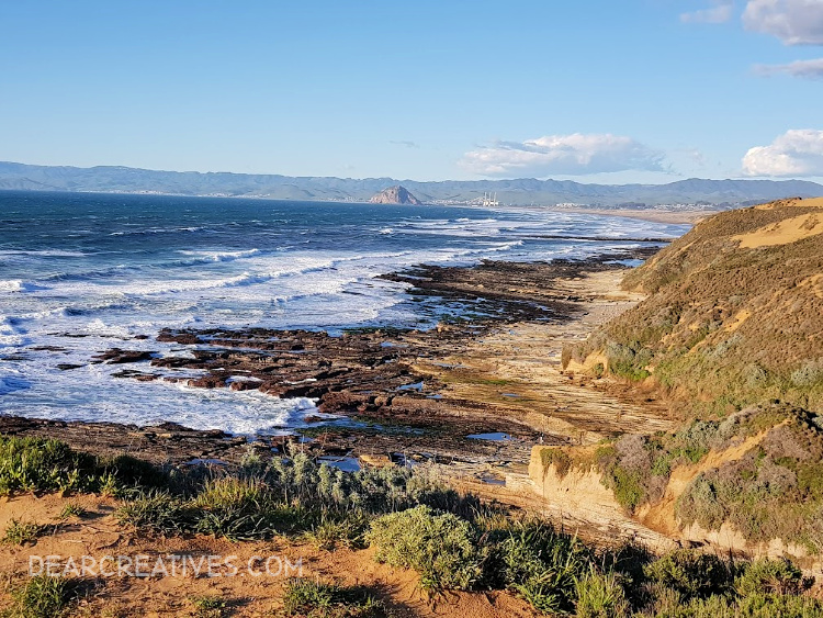 View of Morro Bay, Morro rock and the Pacific coastline in Central California from top of Montana de Oro