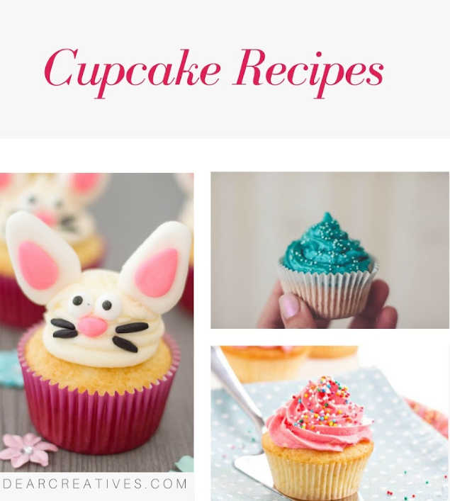 Cupcake Recipes - Do you enjoy making cupcakes from scratch_ Find easy to make recipes and cupcake making hacks and tips. This resource is always being added to. DearCreatives.com #cupcakerecipes