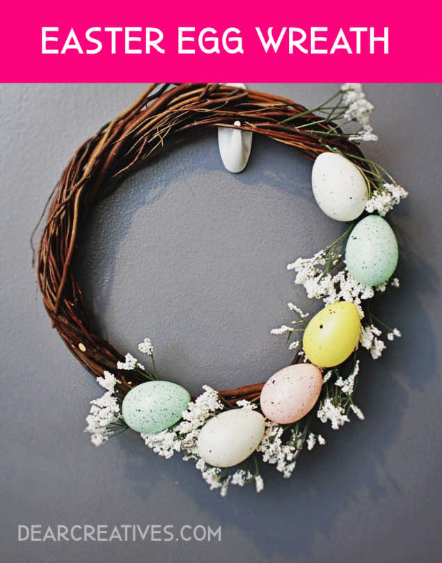 Easter Egg Wreath - This is a pretty idea for a spring wreath or Easter wreath. See how to make an Easter egg wreath or any of our other Easter and spring wreath ideas DearCreatives.com #easterwreath #springwreaths #eastereggwreath #howto #wreathideas #grapevinewreathideas