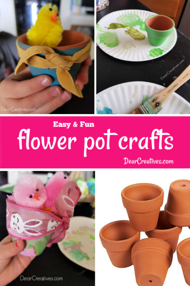 Flower Pot Crafts - Try these fun and easy ideas for decorating flower pots. The kids will love making them for spring, Easter, Earth Day, and Mother's day Grab this craft for kids and more! DearCreatives.com #flowerpotcrafts #craftsforkids #spring #easter #earthday #motherday #summer #kidsactivities #fun #easy #painting #kids