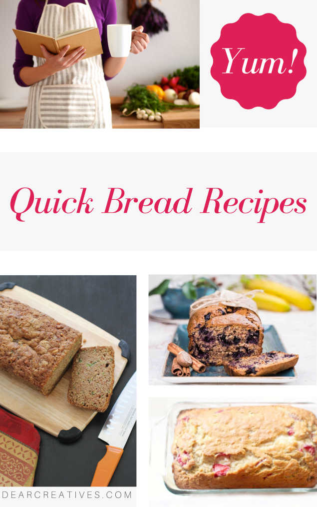 Quick Bread Recipes - Grab sweet bread recipes and savory bread recipes. These are all no yeast breads you can make quickly at home. DearCreatives.com #quickbreadrecipes #baking #recipes #sweetbreads #quickbreads