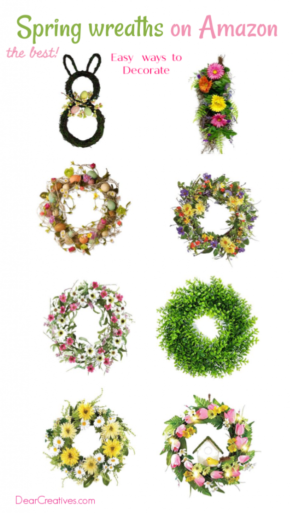 Spring Wreaths on Amazon DearCreatives.com #spring #wreaths #wreathstohang #springsummer #prettywreaths
